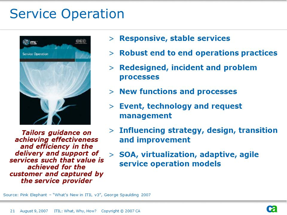 21August 9, 2007 ITIL: What, Why, How? Copyright © 2007 CA Service Operation >Responsive, stable services >Robust end to end operations practices >Red