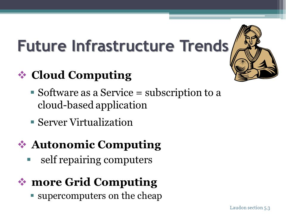 Future Infrastructure Trends  Cloud Computing  Software as a Service = subscription to a cloud-based application  Server Virtualization  Autonomic
