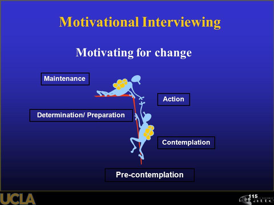 115 Motivating for change Pre-contemplation Contemplation Determination/ Preparation Action Maintenance Motivational Interviewing