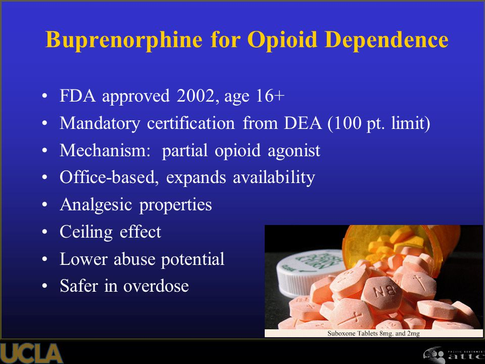Buprenorphine for Opioid Dependence FDA approved 2002, age 16+ Mandatory certification from DEA (100 pt. limit) Mechanism: partial opioid agonist Offi