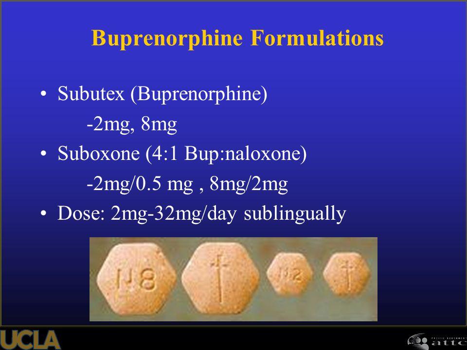 Buprenorphine Formulations Subutex (Buprenorphine) -2mg, 8mg Suboxone (4:1 Bup:naloxone) -2mg/0.5 mg, 8mg/2mg Dose: 2mg-32mg/day sublingually