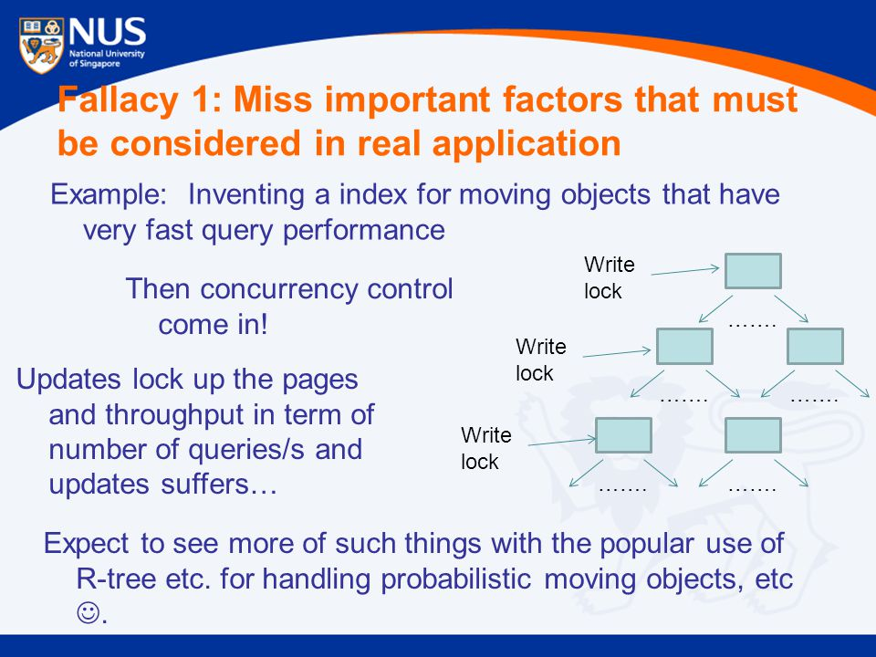 Fallacy 1: Miss important factors that must be considered in real application Example: Inventing a index for moving objects that have very fast query performance …….