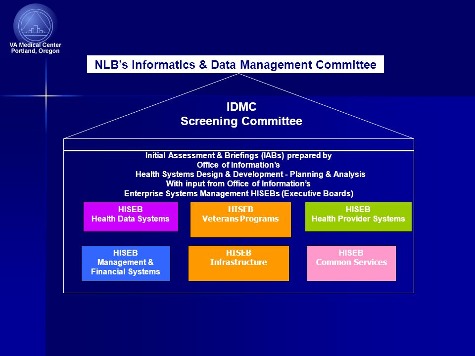Initial Assessment & Briefings (IABs) prepared by Office of Information's Health Systems Design & Development - Planning & Analysis With input from Office of Information's Enterprise Systems Management HISEBs (Executive Boards) NLB's Informatics & Data Management Committee HISEB Health Data Systems HISEB Health Provider Systems HISEB Management & Financial Systems HISEB Infrastructure HISEB Common Services IDMC Screening Committee HISEB Veterans Programs
