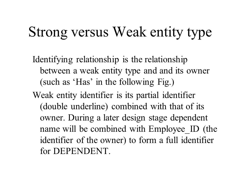 Strong versus Weak entity type Most of the basic entity types are classified as strong entity types [Rectangle] – one that exists independently from o