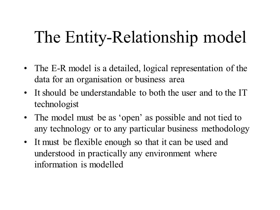 The Entity-Relationship Model Conceptual Data Modeling Lecture 3