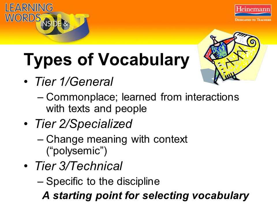Types of Vocabulary Tier 1/General –Commonplace; learned from interactions with texts and people Tier 2/Specialized –Change meaning with context ( polysemic ) Tier 3/Technical –Specific to the discipline A starting point for selecting vocabulary