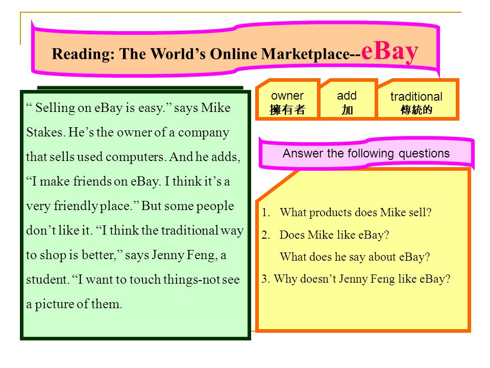Reading: The World's Online Marketplace-- eBay Selling on eBay is easy. says Mike Stakes.