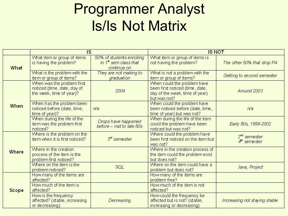 Programmer Analyst Is/Is Not Matrix