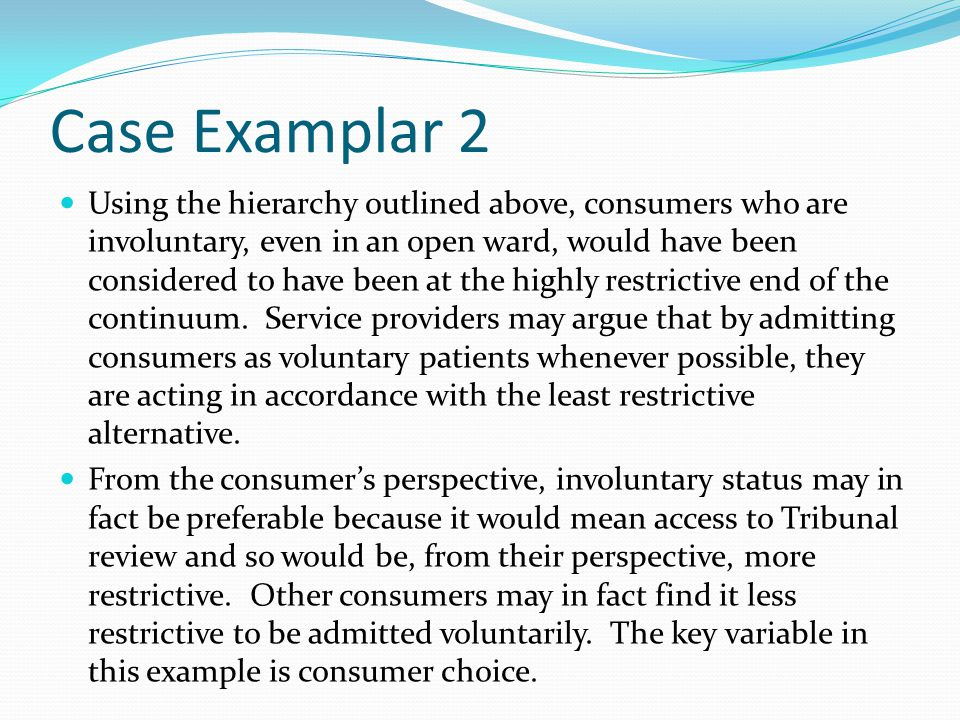 Case Examplar 3 Imagine a situation where there are severe side effects to the medication.