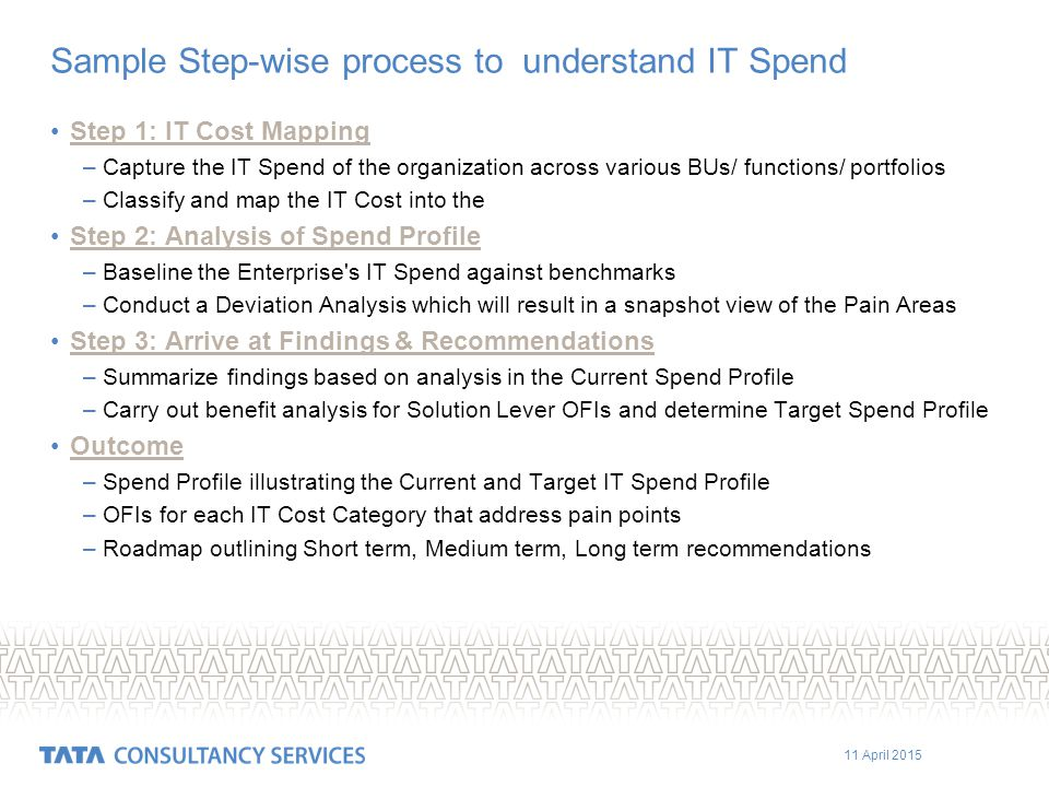 11 April 2015 Sample Step-wise process to understand IT Spend Step 1: IT Cost Mapping –Capture the IT Spend of the organization across various BUs/ functions/ portfolios –Classify and map the IT Cost into the Step 2: Analysis of Spend Profile –Baseline the Enterprise s IT Spend against benchmarks –Conduct a Deviation Analysis which will result in a snapshot view of the Pain Areas Step 3: Arrive at Findings & Recommendations –Summarize findings based on analysis in the Current Spend Profile –Carry out benefit analysis for Solution Lever OFIs and determine Target Spend Profile Outcome –Spend Profile illustrating the Current and Target IT Spend Profile –OFIs for each IT Cost Category that address pain points –Roadmap outlining Short term, Medium term, Long term recommendations