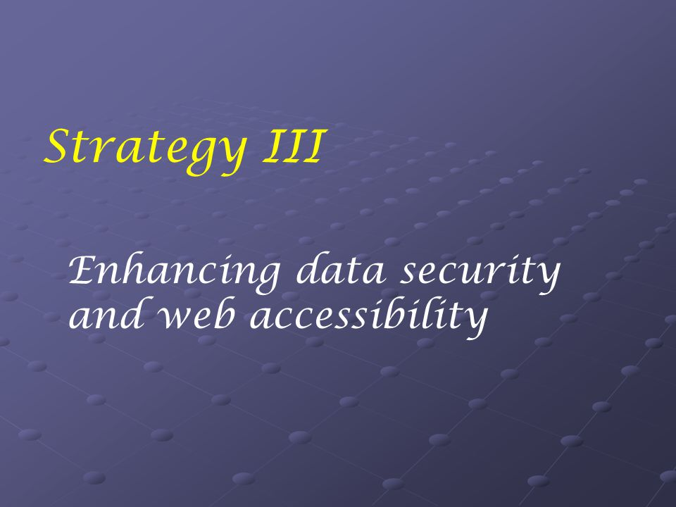 Strategy III Enhancing data security and web accessibility
