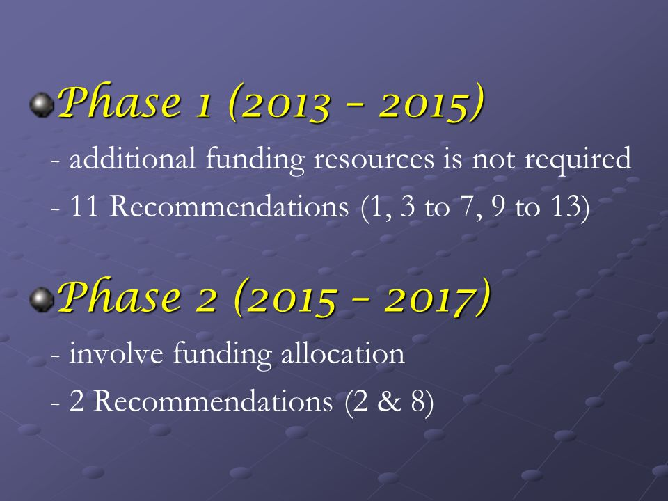 Phase 1 (2013 – 2015) - additional funding resources is not required - 11 Recommendations (1, 3 to 7, 9 to 13) Phase 2 (2015 – 2017) - involve funding allocation - 2 Recommendations (2 & 8)