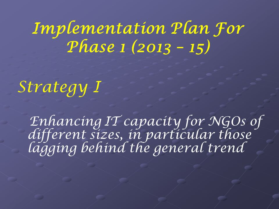 Implementation Plan For Phase 1 (2013 – 15) Strategy I Enhancing IT capacity for NGOs of different sizes, in particular those lagging behind the general trend