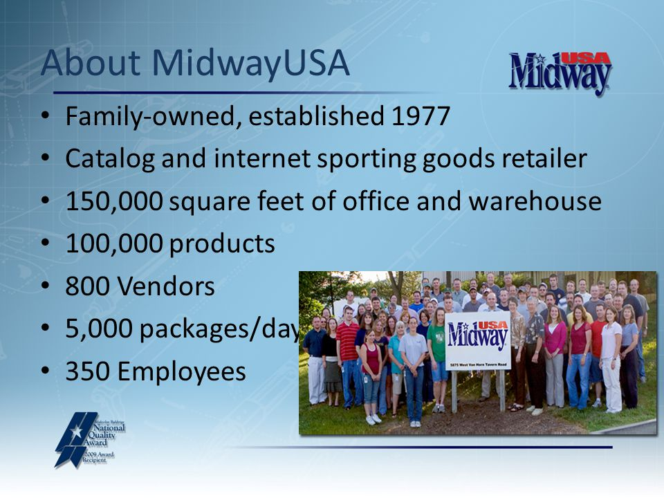 Family-owned, established 1977 Catalog and internet sporting goods retailer 150,000 square feet of office and warehouse 100,000 products 800 Vendors 5,000 packages/day 350 Employees About MidwayUSA