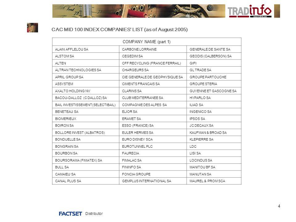 Distributor 4 CAC MID 100 INDEX COMPANIES' LIST (as of August 2005) COMPANY NAME (part 1) ALAIN AFFLELOU SACARBONE LORRAINEGENERALE DE SANTE SA ALSTOM SACEGEDIM SAGEODIS (CALBERSON) SA ALTENCFF RECYCLING (FRANCE FERRAIL)GIFI ALTRAN TECHNOLOGIES SACHARGEURS SAGL TRADE SA APRIL GROUP SACIE GENERALE DE GEOPHYSIQUE SAGROUPE PARTOUCHE ASSYSTEMCIMENTS FRANCAIS SAGROUPE STERIA AXALTO HOLDING NVCLARINS SAGUYENNE ET GASCOGNE SA BACOU-DALLOZ (C DALLOZ) SACLUB MEDITERRANEE SAHYPARLO SA BAIL INVESTISSEMENT(SELECTIBAIL)COMPAGNIE DES ALPES SAILIAD SA BENETEAU SAELIOR SAINGENICO SA BIOMERIEUXERAMET SAIPSOS SA BOIRON SAESSO (FRANCE) SAJC DECAUX SA BOLLORE INVEST (ALBATROS)EULER HERMES SAKAUFMAN & BROAD SA BONDUELLE SAEURO DISNEY SCAKLEPIERRE SA BONGRAIN SAEUROTUNNEL PLCLDC BOURBON SAFAURECIALISI SA BOURSORAMA (FIMATEX) SAFIMALAC SALOCINDUS SA BULL SAFININFO SAMANITOU BF SA CAMAIEU SAFONCIA GROUPEMANUTAN SA CANAL PLUS SAGEMPLUS INTERNATIONAL SAMAUREL & PROM SCA