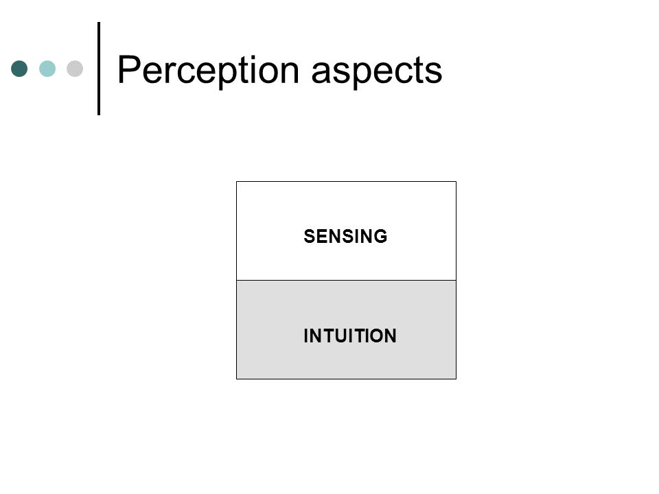 Perception aspects SENSING INTUITION