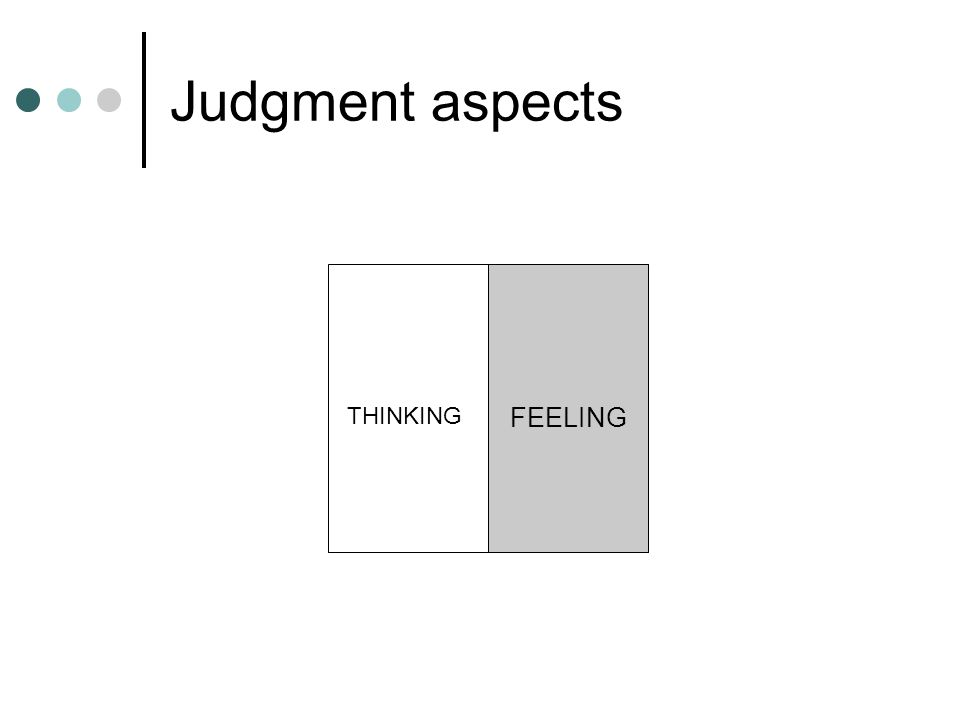 Judgment aspects FEELING THINKING