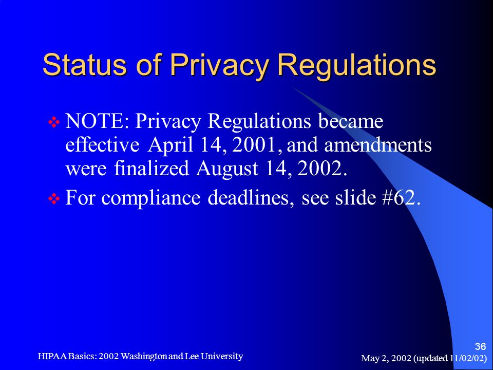 May 2, 2002 (updated 11/02/02) HIPAA Basics: 2002 Washington and Lee University 36 Status of Privacy Regulations  NOTE: Privacy Regulations became ef