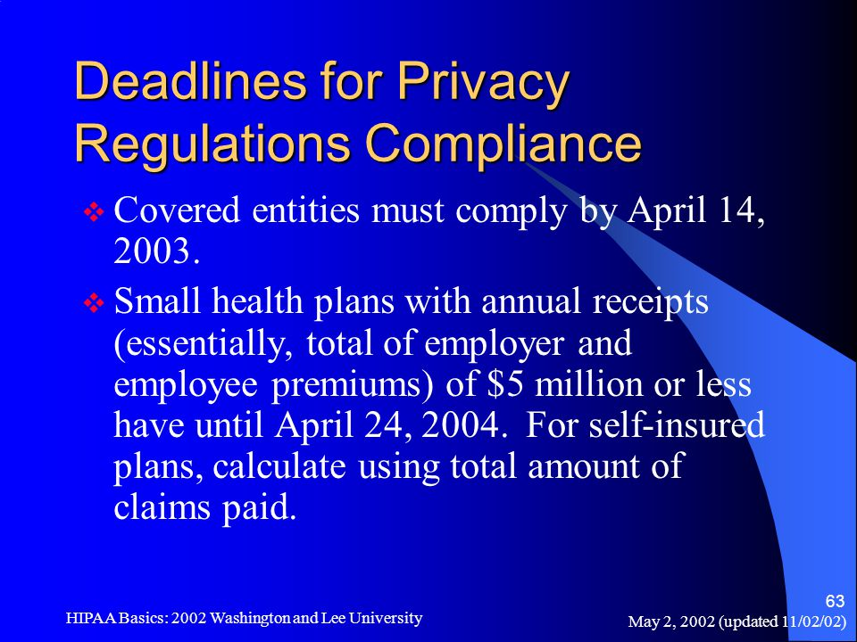 May 2, 2002 (updated 11/02/02) HIPAA Basics: 2002 Washington and Lee University 63 Deadlines for Privacy Regulations Compliance  Covered entities mus