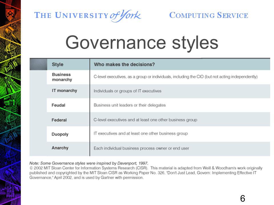 6 Governance styles