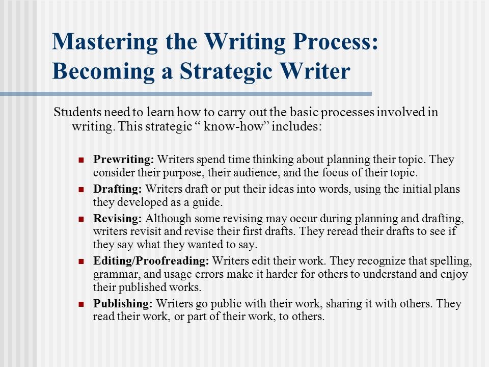 Mastering the Writing Process: Becoming a Strategic Writer Students need to learn how to carry out the basic processes involved in writing.