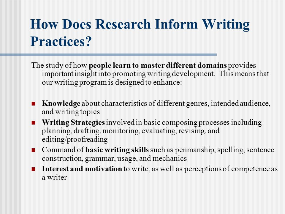 How Does Research Inform Writing Practices.
