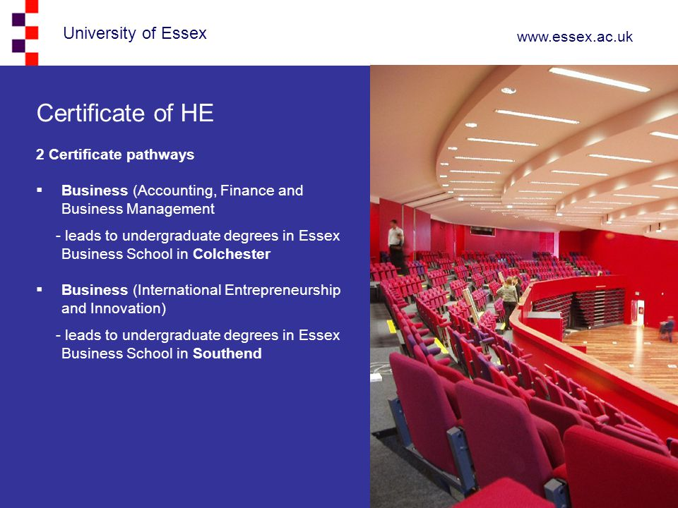 University of Essex www.essex.ac.uk Certificate of HE 2 Certificate pathways  Business (Accounting, Finance and Business Management - leads to underg