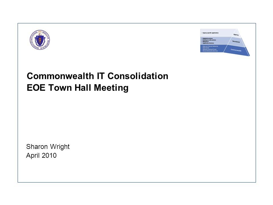Commonwealth IT Consolidation EOE Town Hall Meeting Sharon Wright April 2010