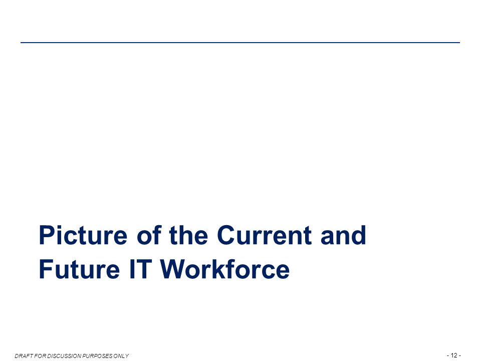 DRAFT FOR DISCUSSION PURPOSES ONLY Picture of the Current and Future IT Workforce