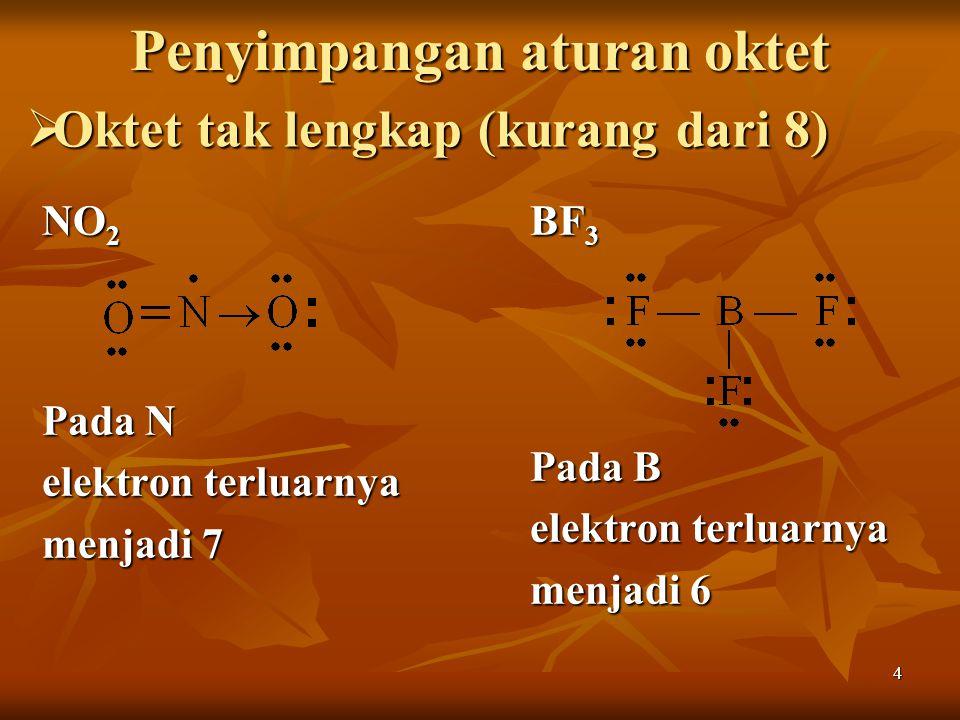 4 Penyimpangan aturan oktet NO 2 Pada N elektron terluarnya menjadi 7 BF 3 Pada B elektron terluarnya menjadi 6  Oktet tak lengkap (kurang dari 8)