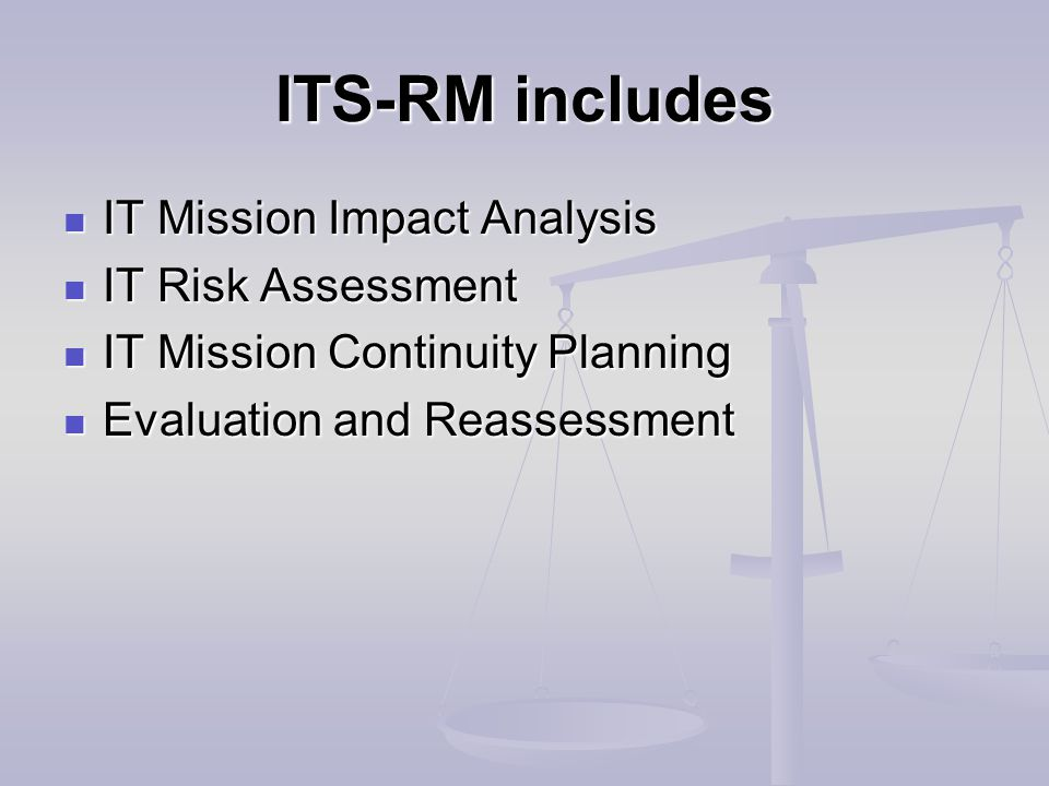 ITS-RM includes IT Mission Impact Analysis IT Mission Impact Analysis IT Risk Assessment IT Risk Assessment IT Mission Continuity Planning IT Mission Continuity Planning Evaluation and Reassessment Evaluation and Reassessment