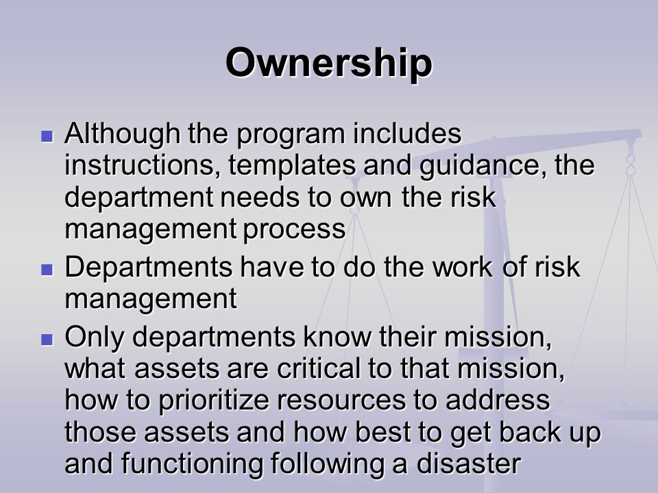 Ownership Although the program includes instructions, templates and guidance, the department needs to own the risk management process Although the program includes instructions, templates and guidance, the department needs to own the risk management process Departments have to do the work of risk management Departments have to do the work of risk management Only departments know their mission, what assets are critical to that mission, how to prioritize resources to address those assets and how best to get back up and functioning following a disaster Only departments know their mission, what assets are critical to that mission, how to prioritize resources to address those assets and how best to get back up and functioning following a disaster