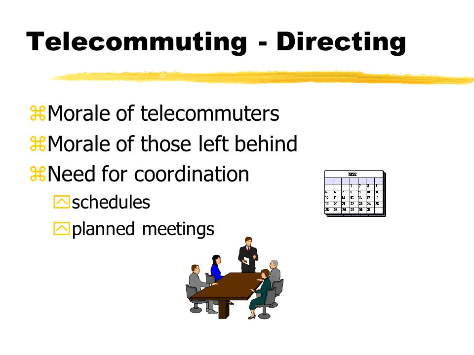 Telecommuting - Directing zMorale of telecommuters zMorale of those left behind zNeed for coordination yschedules yplanned meetings