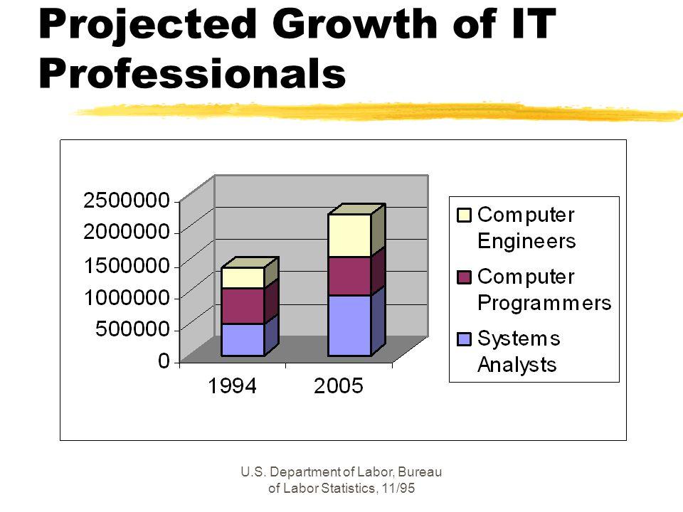 U.S. Department of Labor, Bureau of Labor Statistics, 11/95 Projected Growth of IT Professionals