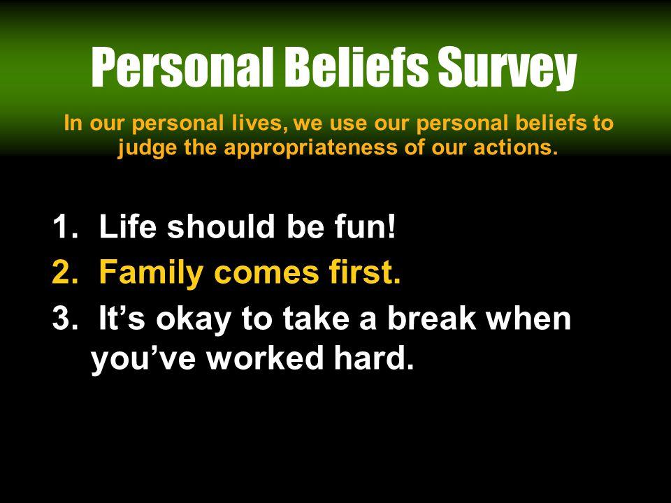 Workin It Out 06/23/11 Personal Beliefs Survey 1.