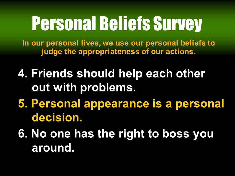 Workin It Out 06/23/11 Personal Beliefs Survey 4.