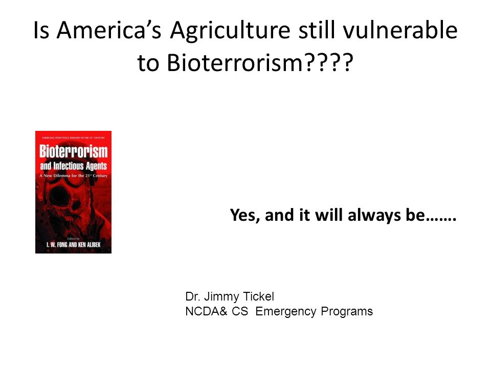 Victim's vulnerability Immunity Biosecurity- Lack of full Integration or understanding of response Production is Grouped geographically Market nationally-