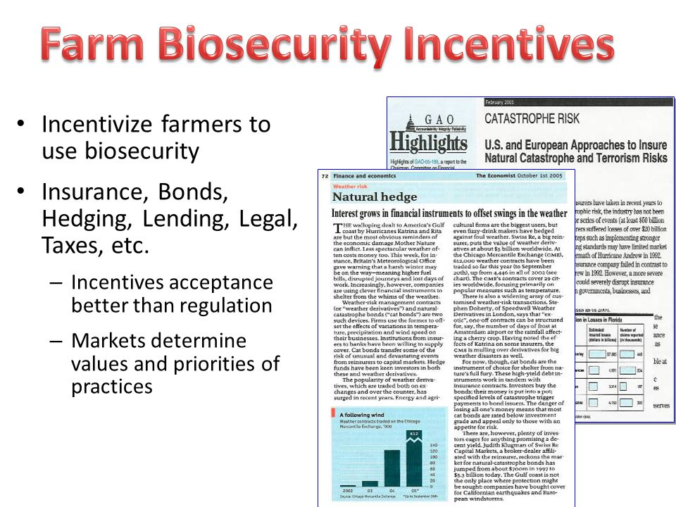 Incentivize farmers to use biosecurity Insurance, Bonds, Hedging, Lending, Legal, Taxes, etc.