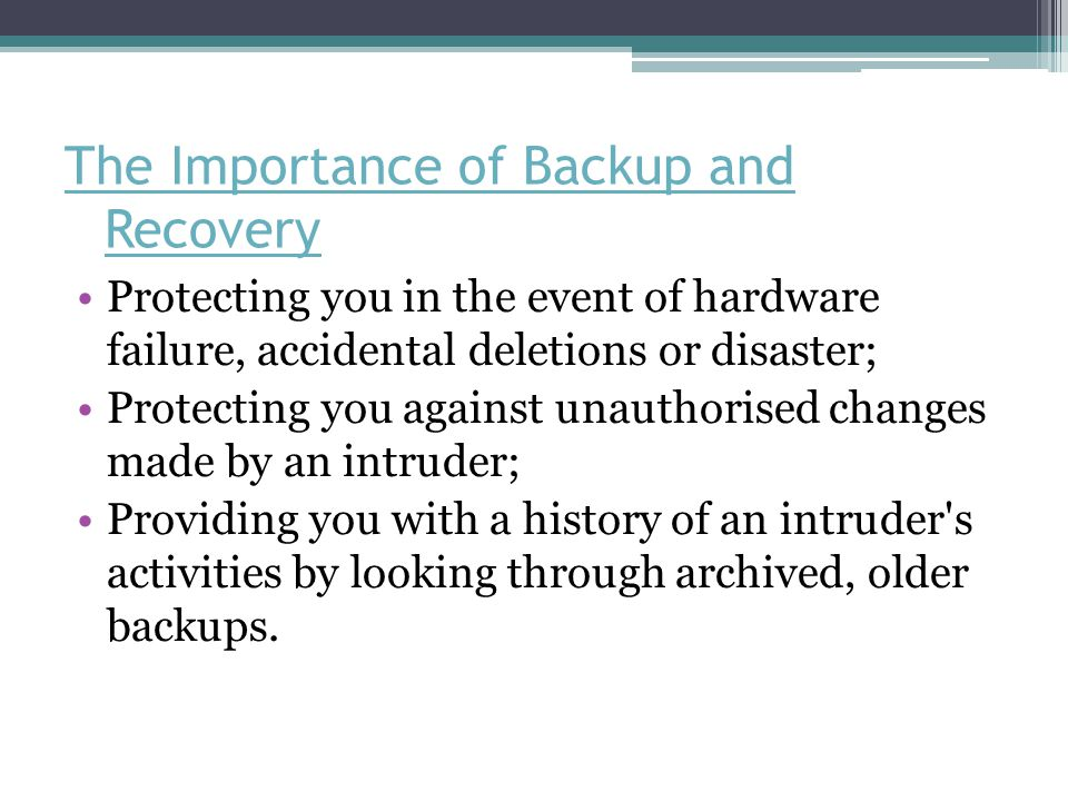 Steps for Backup and Recovery