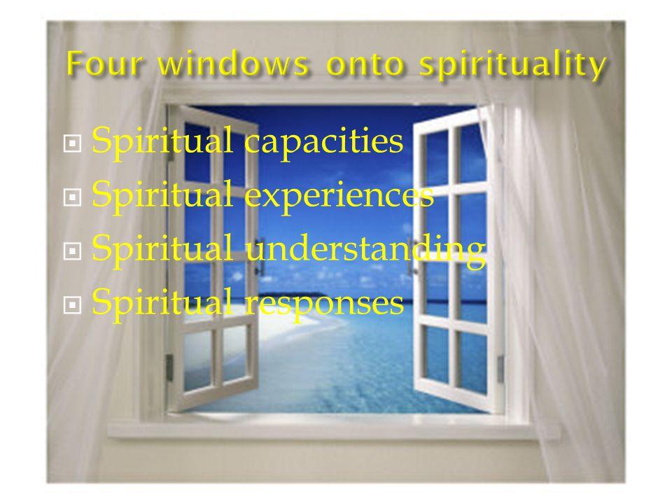  Spiritual capacities  Spiritual experiences  Spiritual understanding  Spiritual responses