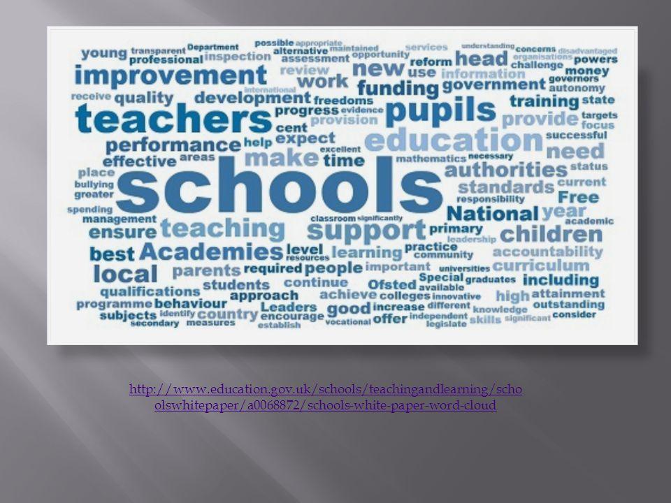 http://www.education.gov.uk/schools/teachingandlearning/scho olswhitepaper/a0068872/schools-white-paper-word-cloud