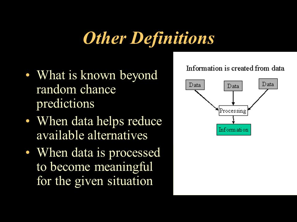 Other Definitions What is known beyond random chance predictions When data helps reduce available alternatives When data is processed to become meaningful for the given situation
