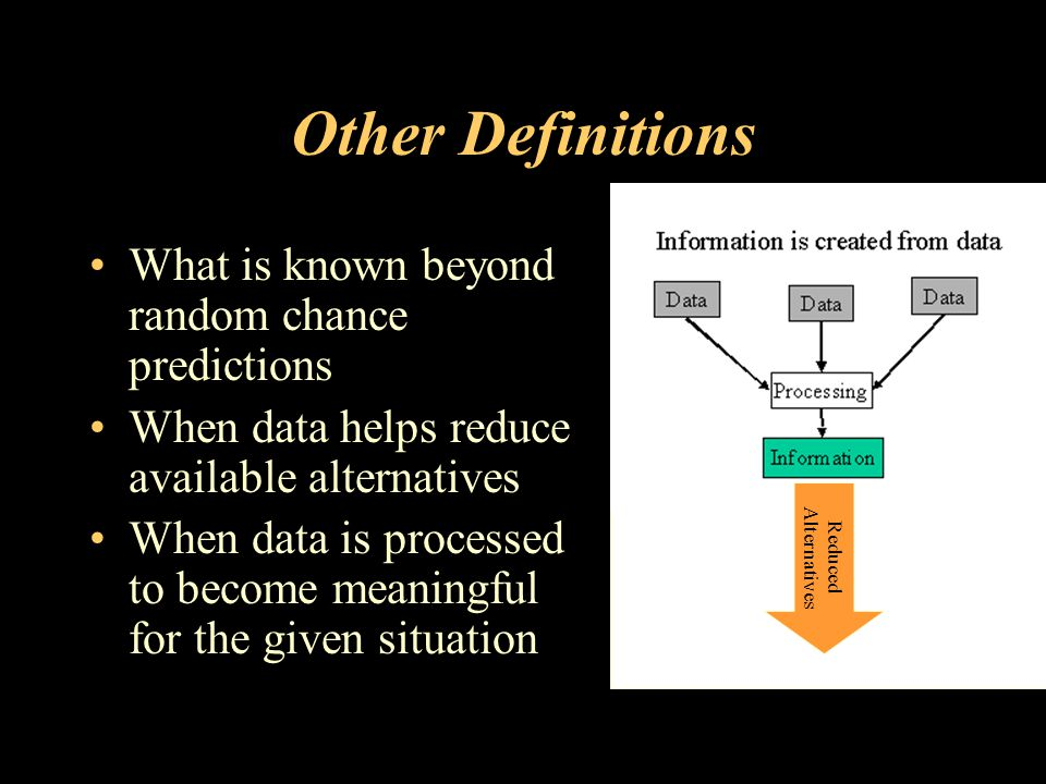 Other Definitions What is known beyond random chance predictions When data helps reduce available alternatives When data is processed to become meaningful for the given situation Reduced Alternatives
