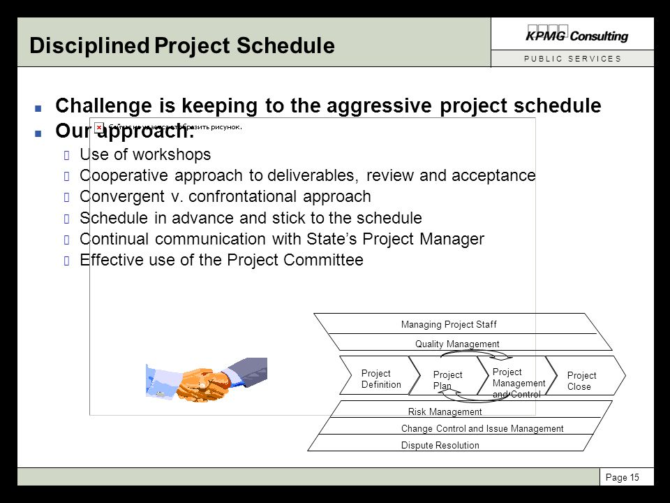 P U B L I C S E R V I C E S Page 15 n Challenge is keeping to the aggressive project schedule n Our approach: Use of workshops Cooperative approach to deliverables, review and acceptance Convergent v.