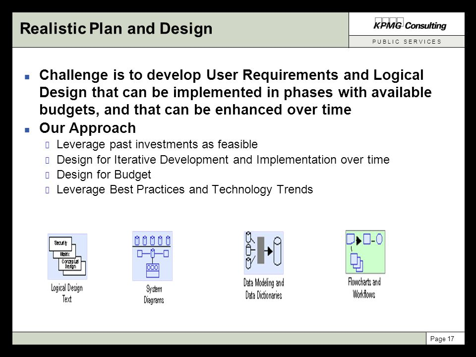 P U B L I C S E R V I C E S Page 17 Realistic Plan and Design n Challenge is to develop User Requirements and Logical Design that can be implemented i