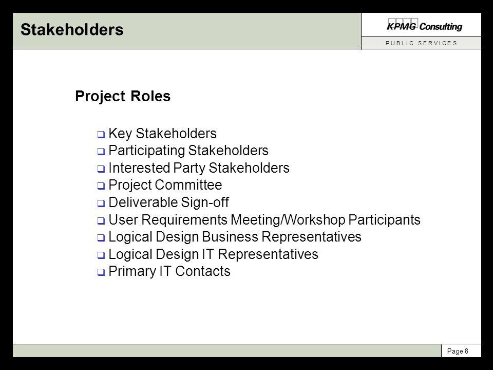 P U B L I C S E R V I C E S Page 9 Stakeholder List
