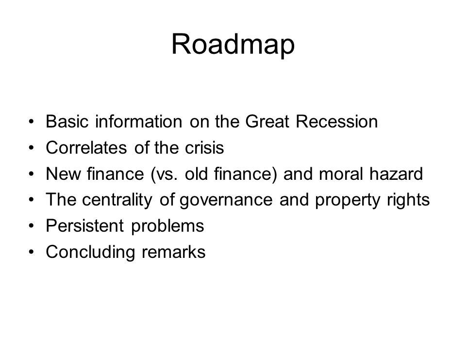 Basic information about the Great Recession Official Beginning: December 2007.