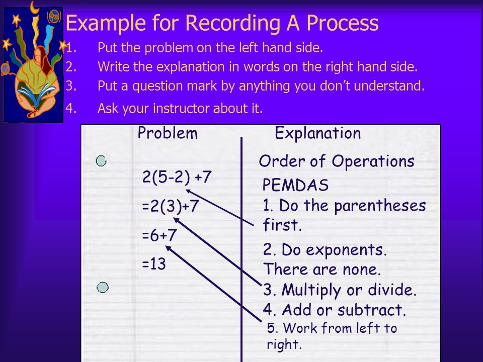 Example for Recording A Process 1.Put the problem on the left hand side. 2.Write the explanation in words on the right hand side. 3.Put a question mar