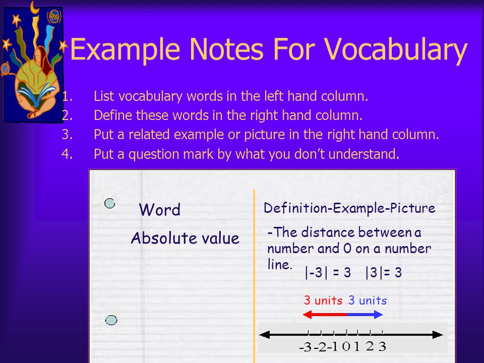 Example Notes For Vocabulary 1.List vocabulary words in the left hand column. 2.Define these words in the right hand column. 3.Put a related example o