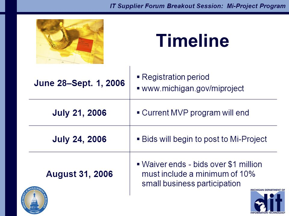 IT Supplier Forum Breakout Session: Mi-Project Program Timeline June 28–Sept.